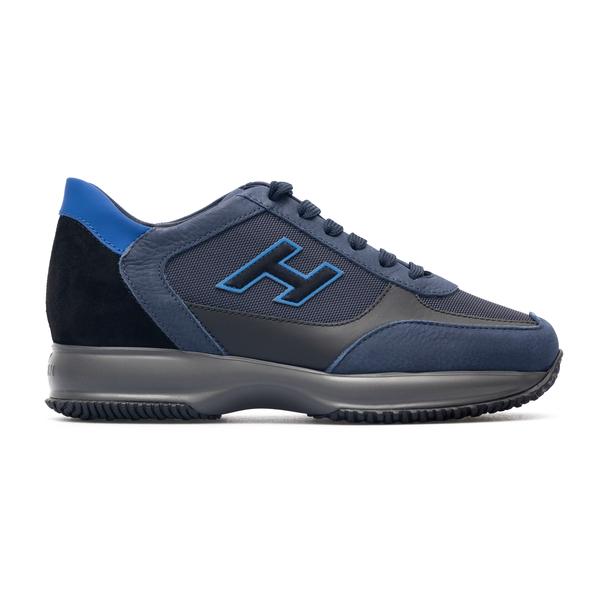 Sneakers blu a pannelli con logo                                                                                                                      Hogan HXM00N0Q101 retro