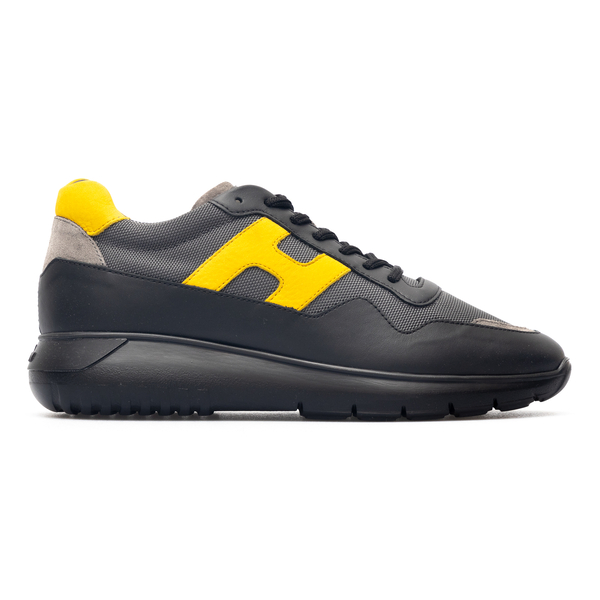Sneakers grigie con logo giallo                                                                                                                       Hogan HXM3710AJ15 retro