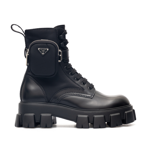 Black combat boots with ankle pouch                                                                                                                   Prada 2UE007 back