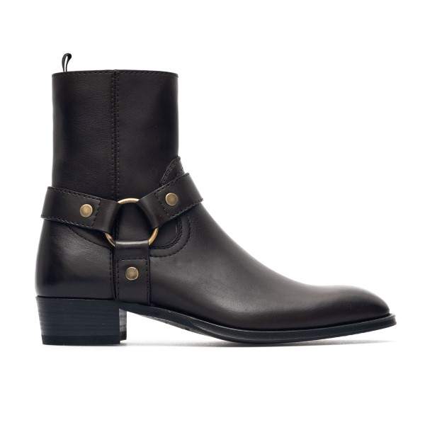 Dark brown leather ankle boots                                                                                                                        Saint Laurent 649094 back