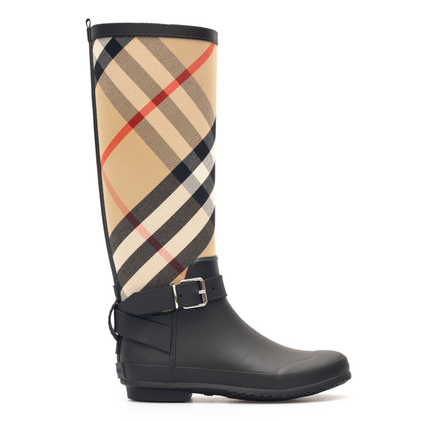 Black and beige checked boots                                                                                                                         Burberry 8034299 back