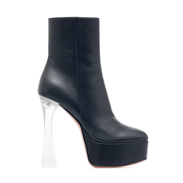 Black ankle boots with transparent heel                                                                                                               Amina muaddi DUABOOTGLASS front