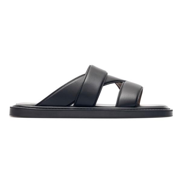 Black sandals with intertwined bands                                                                                                                  Bottega Veneta 651420 back