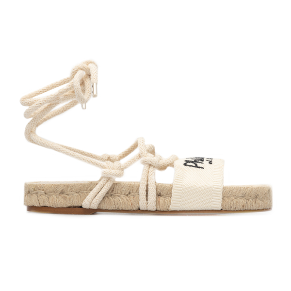 White sandals with brand name embroidery                                                                                                              Philosophy A6302 back