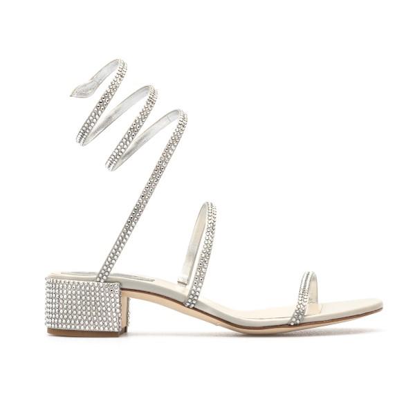 Silver sandals with rhinestones                                                                                                                       Rene caovilla C08671040 front