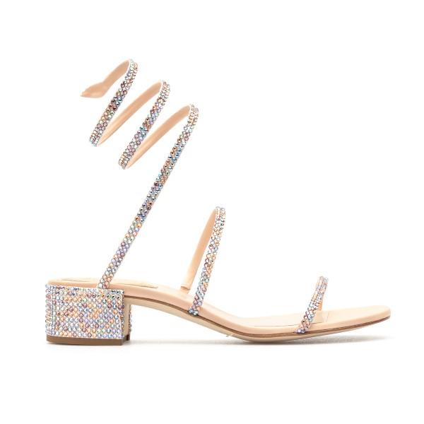 Silver sandals with multicolored rhinestones                                                                                                          Rene caovilla C08671040 front
