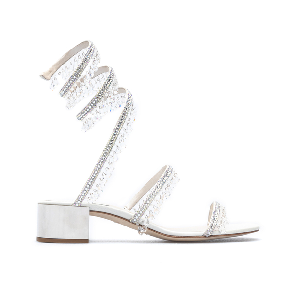 Silver sandals with hanging crystals                                                                                                                  Rene caovilla C10182040 front