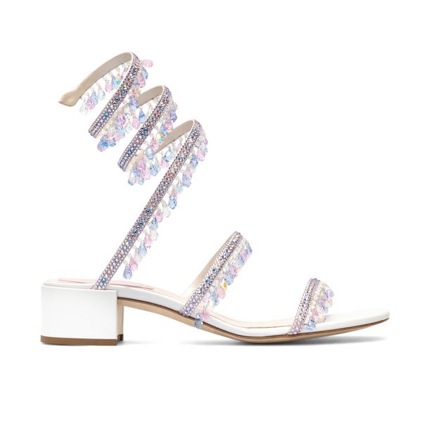 Sandali bianchi con cristalli                                                                                                                         Rene Caovilla C11056 retro