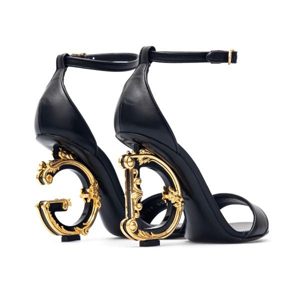 Sandali neri con tacco a logo                                                                                                                          DOLCE&GABBANA                                      DOLCE&GABBANA