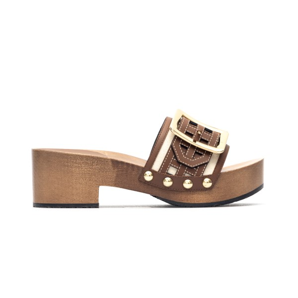 Brown sandals with wooden sole                                                                                                                        Bally ELLIN20CAGE front