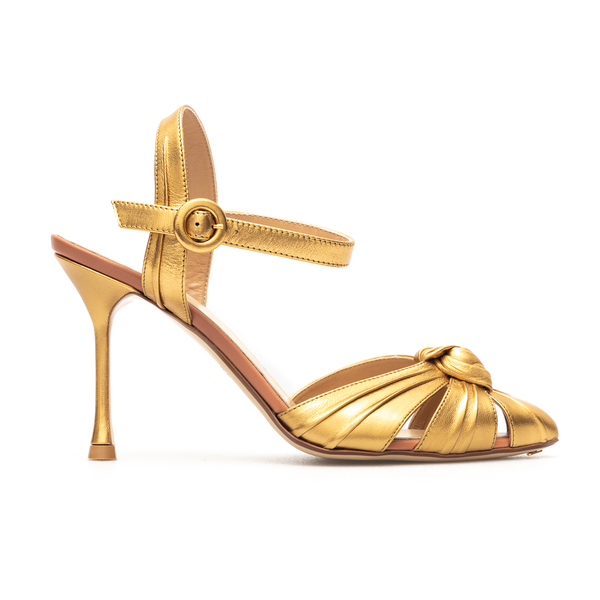 Golden sandals with knot detail                                                                                                                       Francesco Russo FR36082A front