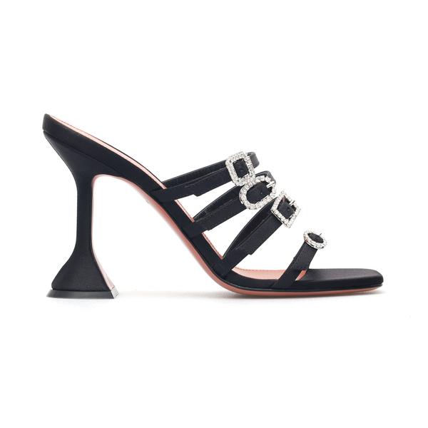 Sandali neri con cinturini e fibbie in strass                                                                                                         Amina Muaddi ROBYNSLIPPER retro