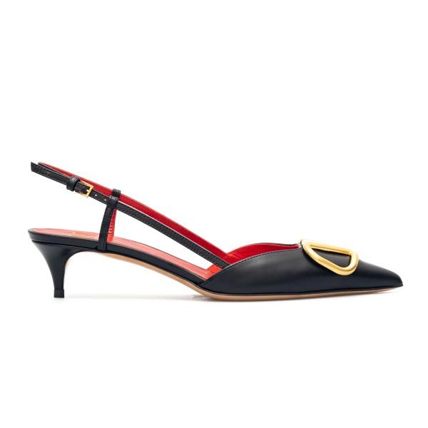 Black slingback sandals with gold logo                                                                                                                Valentino Garavani VW2S0Q70 back