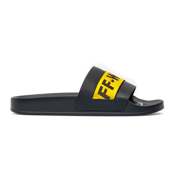 Black slippers with yellow Industrial band                                                                                                            Off White OMIC001S21MAT003 back