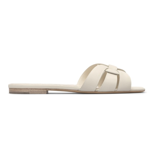 White slippers with weaves                                                                                                                            Saint Laurent 571952 back