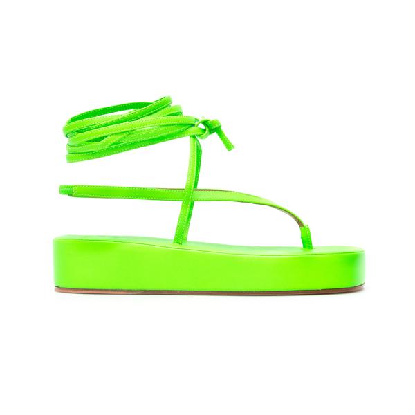 Sandali verde fluo                                                                                                                                    Amina Muaddi JAMIEFLATFORM retro