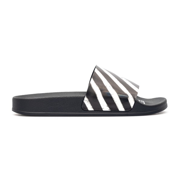 Slippers with black and white striped print                                                                                                           Off white OMIC001R21MAT004 front