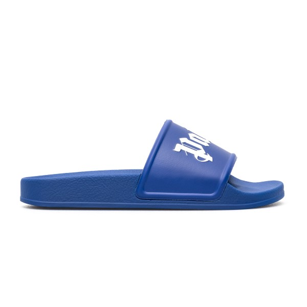Blue slippers with logo                                                                                                                               Palm angels PMIC001R21PLA001 front