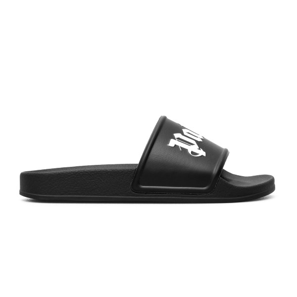 Black slippers with logo print                                                                                                                        Palm angels PMIC001R21PLA001 front
