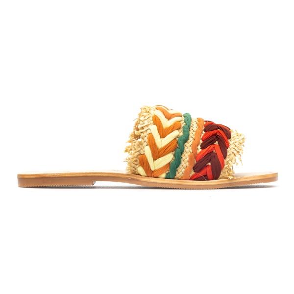 Woven multicolored raffia slippers                                                                                                                    Manebi S13Y0 back