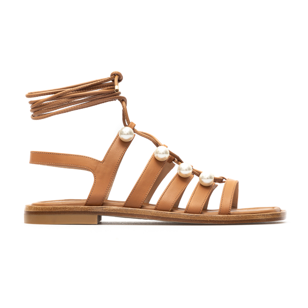 Hazelnut high sandals with pearls and laces                                                                                                           Stuart Weitzman S4569 back