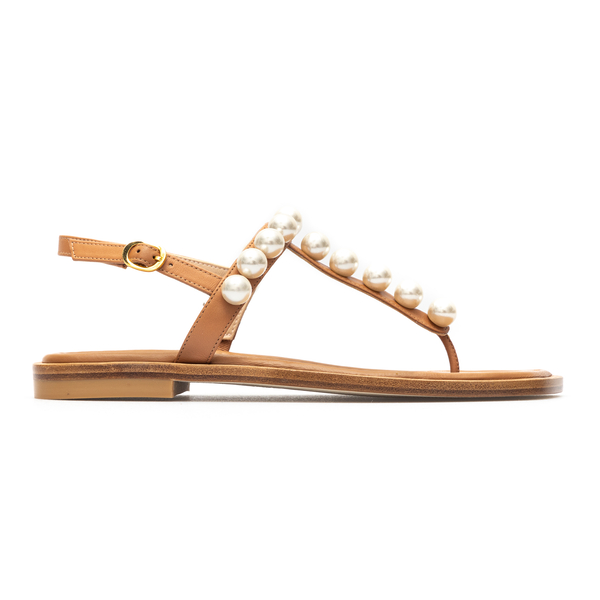 Hazelnut thong sandals with pearls                                                                                                                    Stuart Weitzman S4576 back