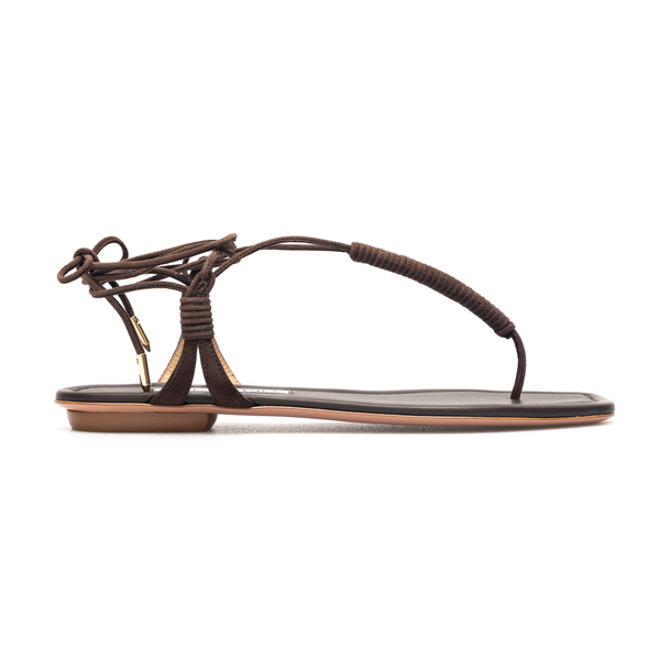 Brown leather thong sandals                                                                                                                           Aquazzura SOLFLAS0 back
