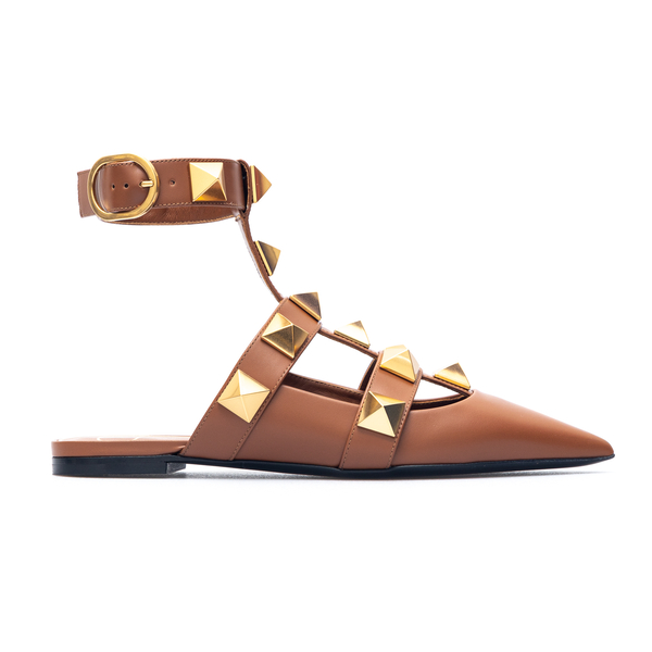 Pointed brown sandals with gold studs                                                                                                                 Valentino Garavani VW0S0BY5 back