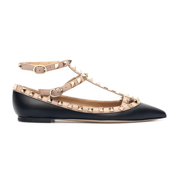 Black ballet flats with pink details and stud                                                                                                         Valentino garavani VW2S0376 front