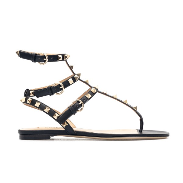 Black sandals with gold studs                                                                                                                         Valentino garavani VW2S0812 front