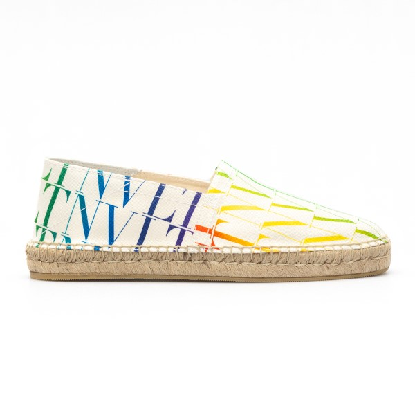 White espadrilles with multicolored logo                                                                                                              Valentino garavani VY2S0B73 front