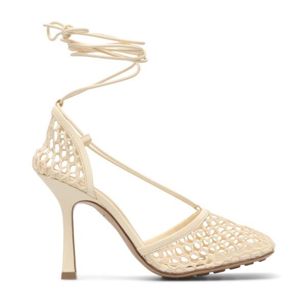 Sandali bianchi a rete                                                                                                                                Bottega veneta 651388 fronte