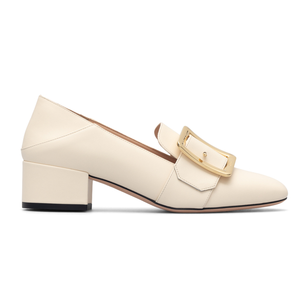 White pumps with gold buckle                                                                                                                          Bally JANELLE40 back