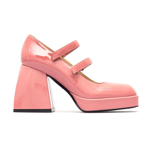 Decolleté rosa lucide con tacco squadrato                                                                                                             Nodaleto NO50 retro