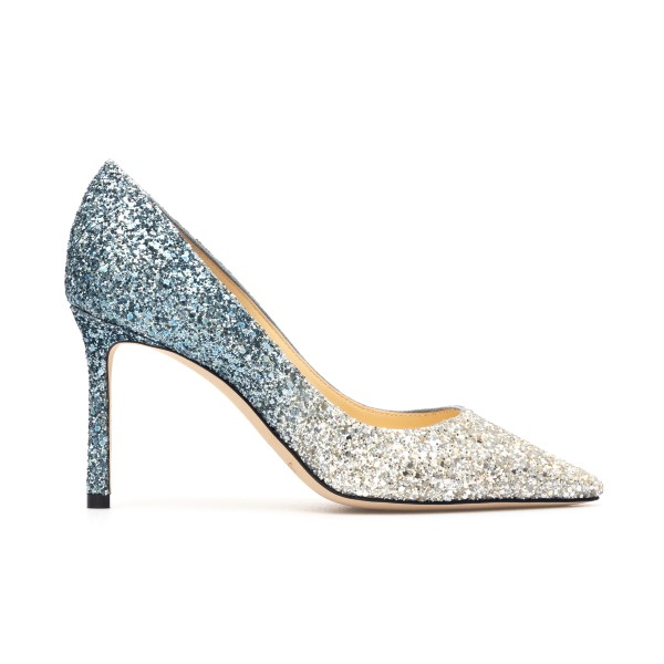 Decolleté in silver and blue glitter                                                                                                                  Jimmy Choo ROMY85 back