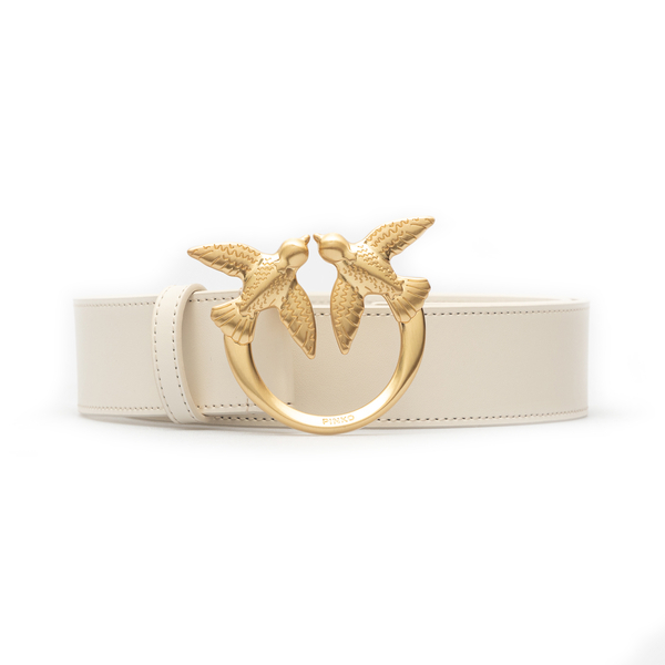 Cream-colored high belt with gold logo                                                                                                                Pinko 1H20WJ back