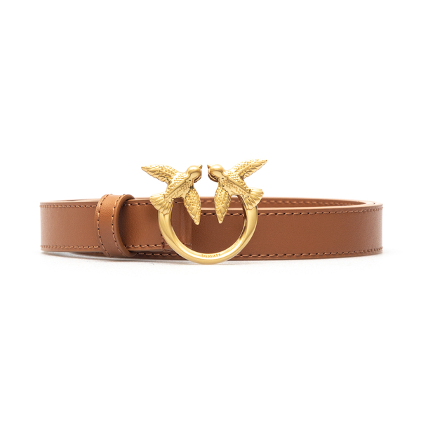 Thin brown belt with gold logo                                                                                                                        Pinko 1H20WV front