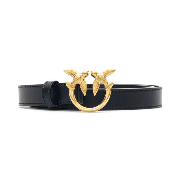 Thin black belt with gold logo                                                                                                                        Pinko 1H20WV front