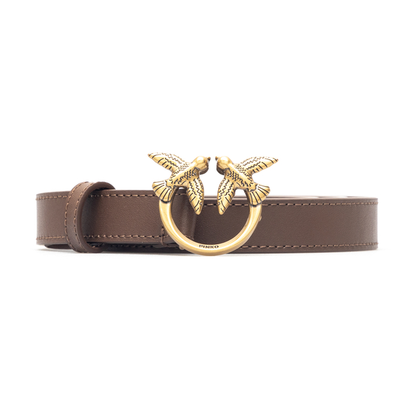Brown belt with gold logo plate                                                                                                                       Pinko 1H20X8 back