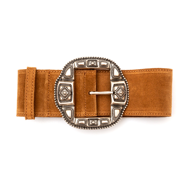Light brown belt with silver buckle                                                                                                                   Etro 1N103 back