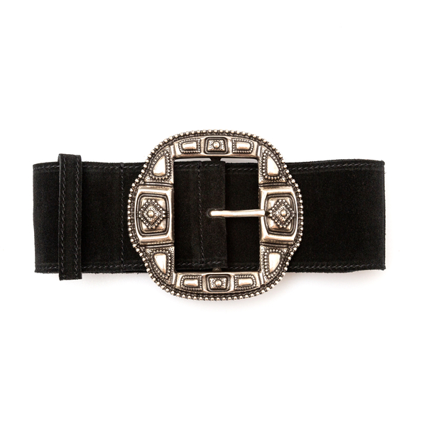 Black suede belt with silver buckle                                                                                                                   Etro 1N103 back