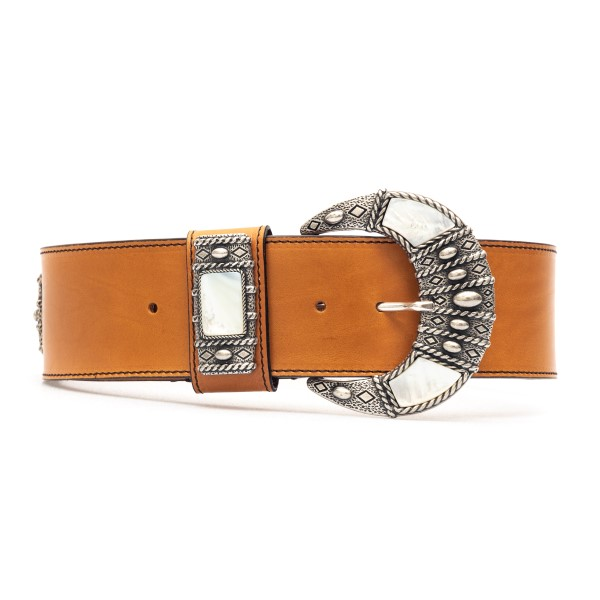 Brown leather belt with metal buckle                                                                                                                  Etro 1N439 front