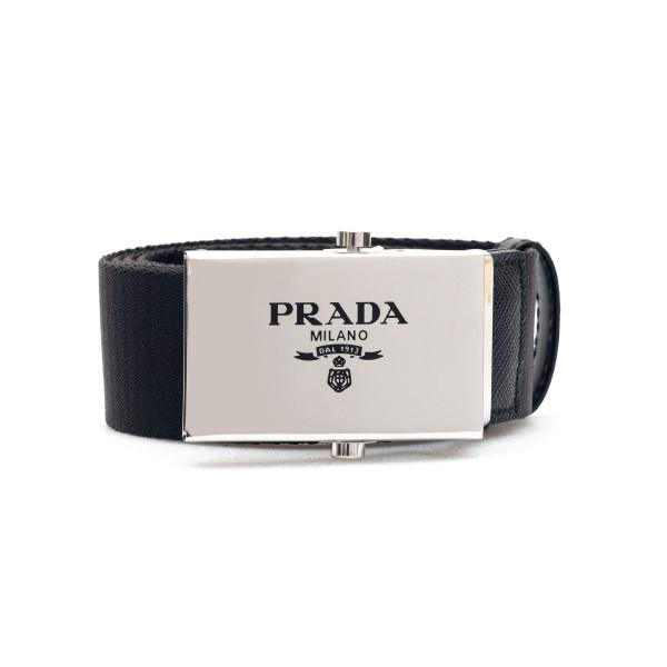Black belt with logo                                                                                                                                  Prada 2CN023 back