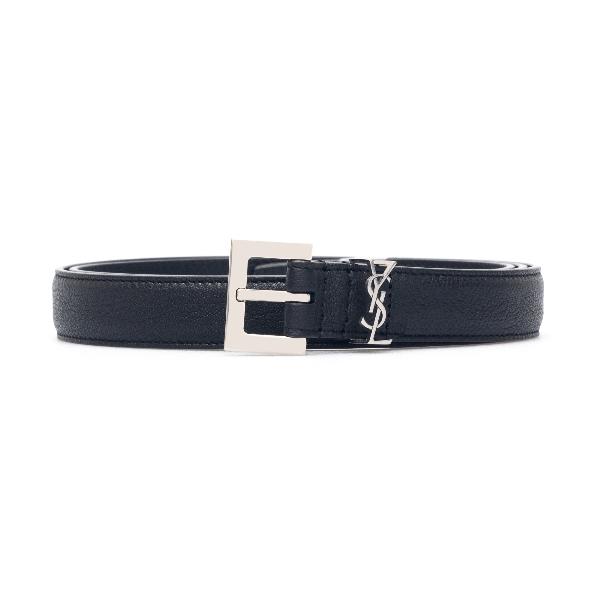 Cintura nera con placca monogram                                                                                                                      Saint laurent 612616 fronte