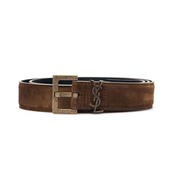 Cintura marrone scamosciata con logo                                                                                                                  Saint Laurent 612616 retro