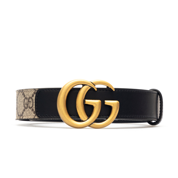 Beige belt with black trim and logo                                                                                                                   Gucci 625839 front