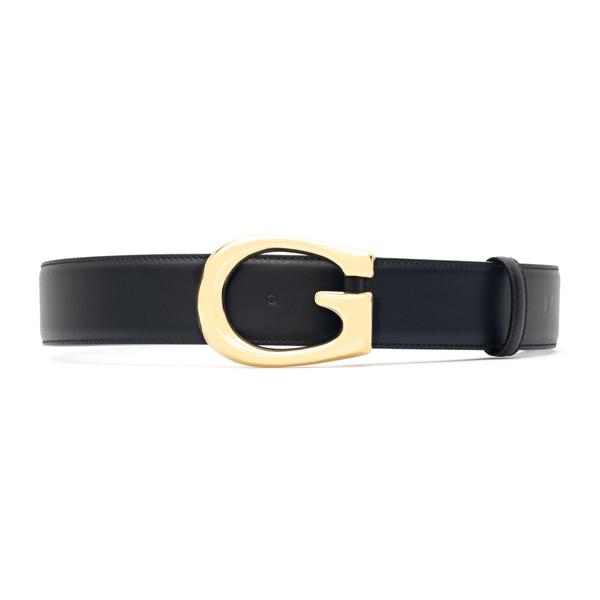 Cintura nera con fibbia a G oro                                                                                                                       Gucci 655567 retro