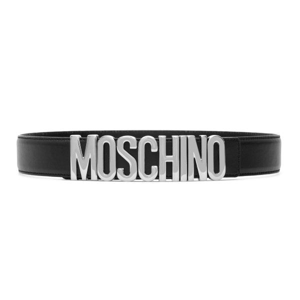Black belt with silver letter logo                                                                                                                    Moschino 8007 front
