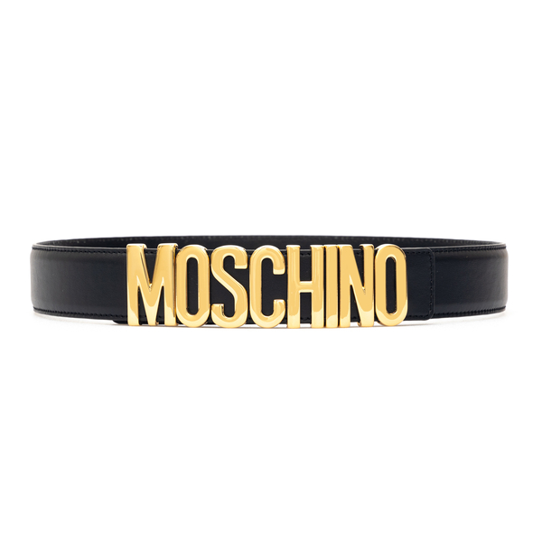 Black belt with gold brand name                                                                                                                       Moschino 8035 back