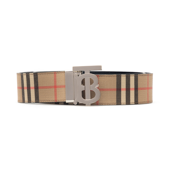 Beige checked belt with logo buckle                                                                                                                   Burberry 8042487 back